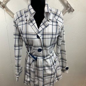 LA Kitty Belted Plaid Trench Coat